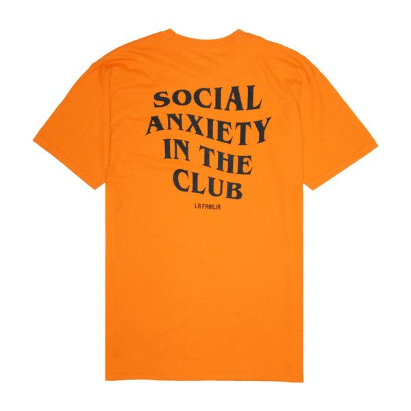 SOCIAL ANXIETY TEE ($25) ❤ liked on Polyvore featuring tops, t-shirts, orange top, orange tee and orange t shirt