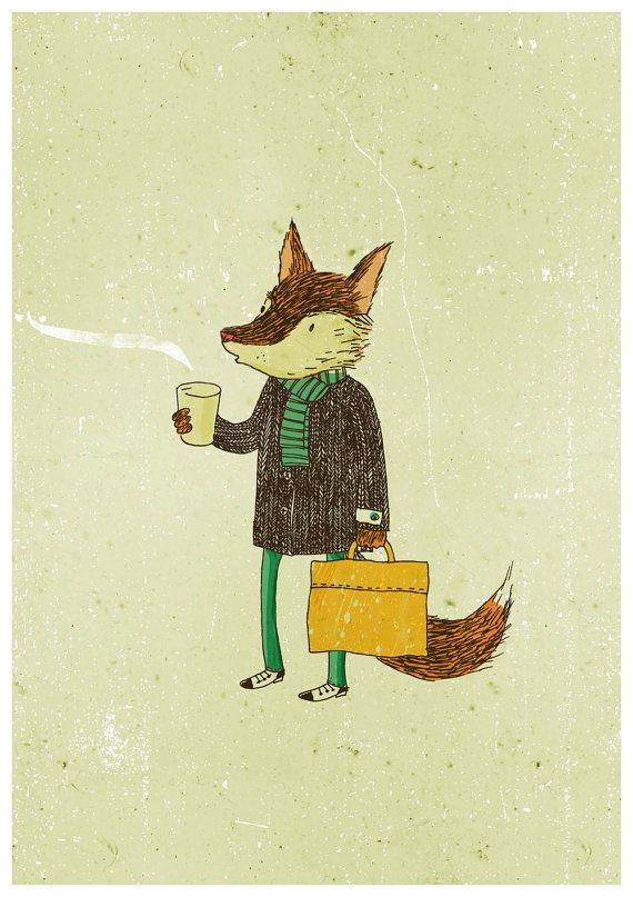 Mr. Fox and coffee by Lukaluka on Etsy: Con La, Gatos Zorros, El Arte Del Café, Cosas Foxy