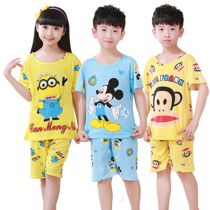 kids pajamas 2016 summer new cartoon cotton short sleeve baby boys girls pyjamas children sleepwear sets♦️ SMS - F A S H I O N  http://www.sms.hr/products/kids-pajamas-2016-summer-new-cartoon-cotton-short-sleeve-baby-boys-girls-pyjamas-children-sleepwear-sets/ US $5.24
