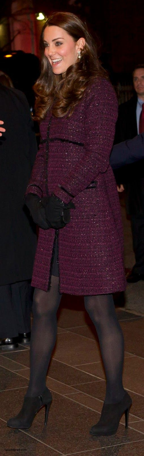 December 7, 2014 - Will and Kate arrive in New York! Kate is wearing a Seraphine maternity coat