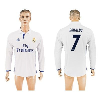 Real Madrid 16-17 Cristiano Ronaldo 7 Hjemmebanetrøje Langærmet.  http://www.fodboldsports.com/real-madrid-16-17-cristiano-ronaldo-7-hjemmebanetroje-langermet.  #fodboldtrøjer