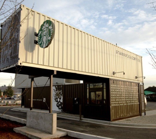 Starbucks Coffee Shop Made Out of Shipping Crates...Seattle, wa