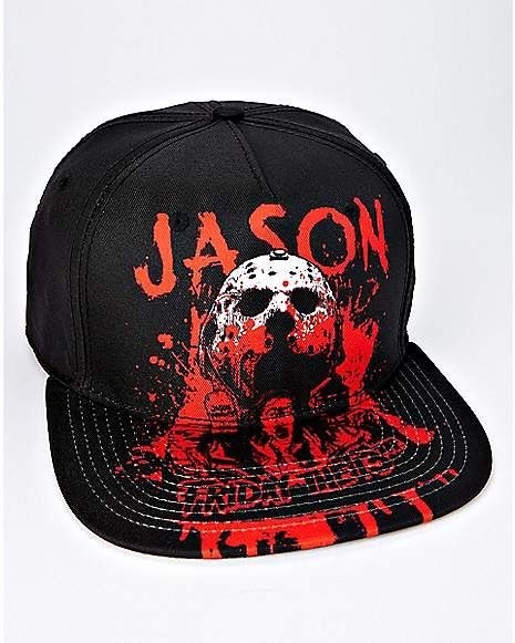 b8c5ea285e9 Bloody Jason Voorhees Snapback Hat - Friday The 13th