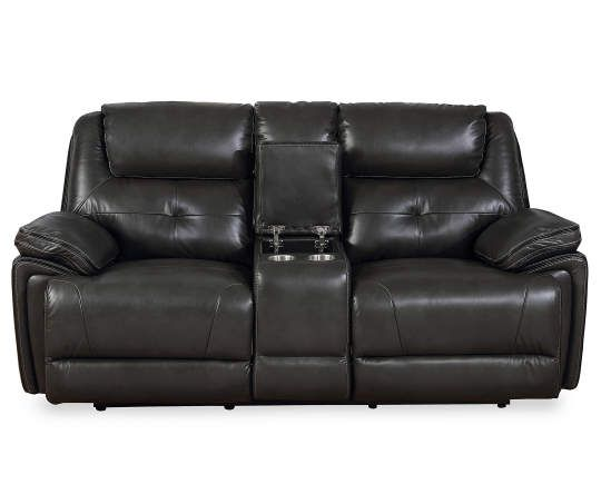 Awesome Granger Dark Gray Console Faux Leather Loveseat Leather Machost Co Dining Chair Design Ideas Machostcouk