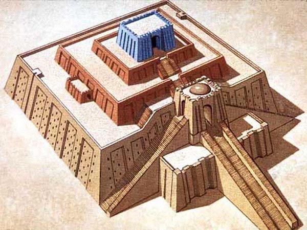 Ziqqurat, la casa dell'Universo. Disegno ricostruttivo della ziqqurat di Ur: su una base di circa 60x40 m, si sviluppava su tre terrazze. In cima, il tempio dedicato al dio Nanna.