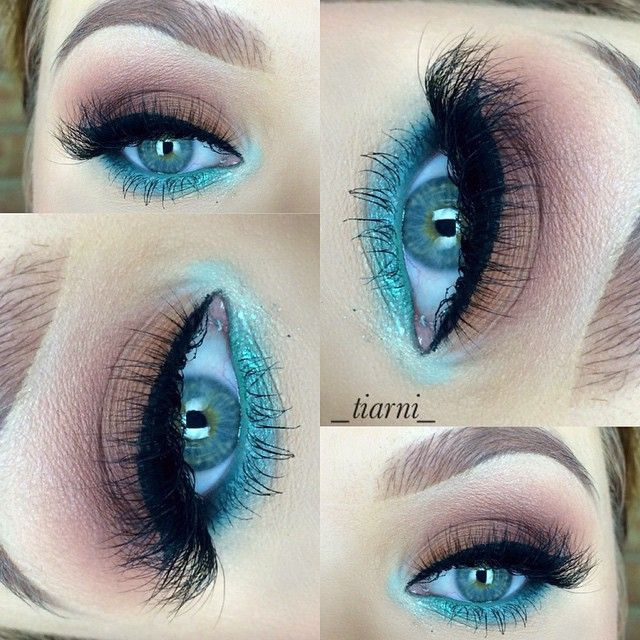 eyeshadows: peach smoothie,frappe,coco bear, shark bait,peacock,pool side all by @makeupgeektv Aqua by Mac and reflects transparent teal  @inglot_australia gel liner in 77  @lamourminklashes lashes in Alaina and @ponicosmetics white knight mascara  @ponicosmetics brow powder in chesnut