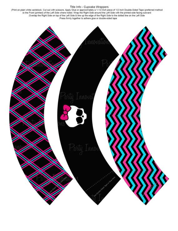 Monster High party decorations - printable cupcake wrappers