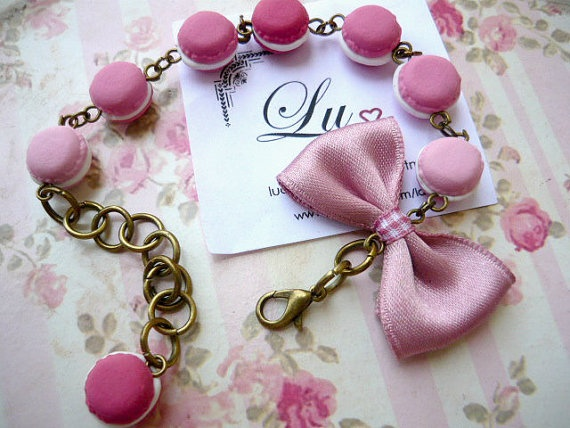 handmade bracelet with polymer clay macarons