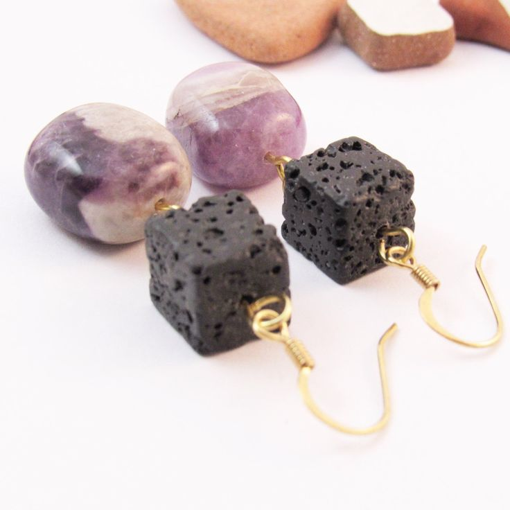 New amethyst and lava gold plated earrings