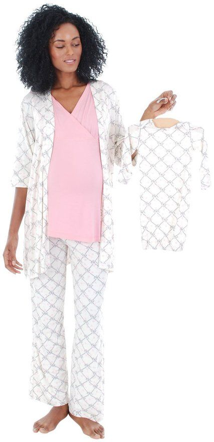 Everly Grey Women's Maternity Roxanne Nursing Pajama Set with Baby Gown at Amazon Women's Clothing store: