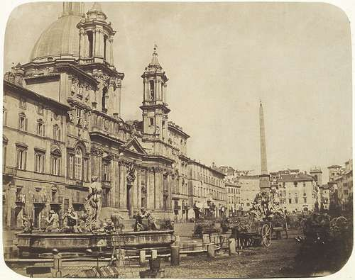 View of San Agnese in Agone Church and Fontana del Moro at Piazza Navona, Rome 1850-1852