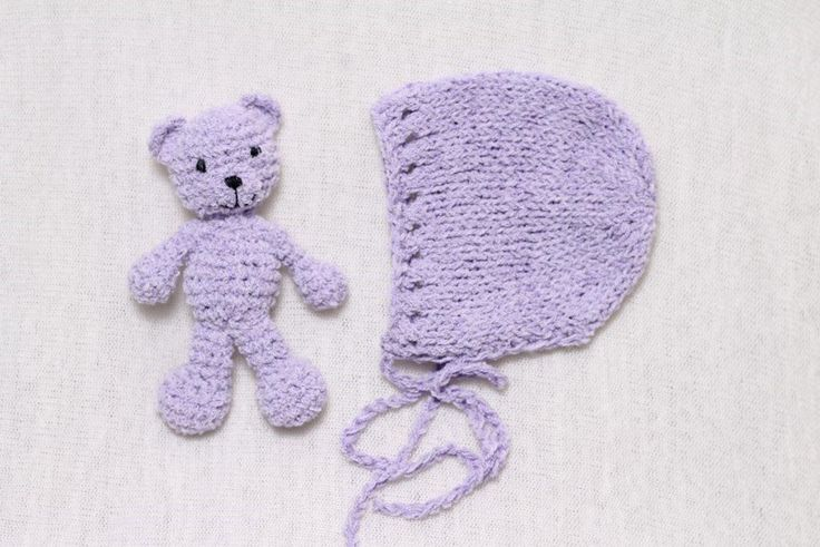 Teddy bear and newborn bonnet, one set left Clearance sale Store is closing Photo prop for newborn photographer