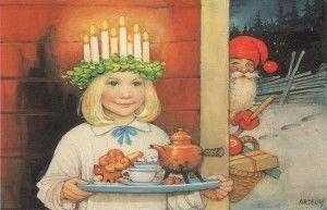La Sainte-Lucie=Fête de la Lumière # Sainte Lucie est fêtée le matin du 13 décembre dans toutes les familles suédoises, et chaque entreprise, école ou ville choisit sa propre Lucie