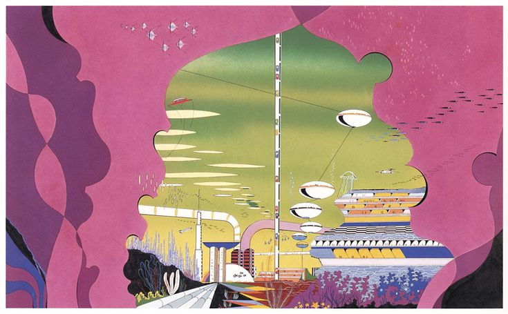 Earth is a flower and it's pollinating, Illustrations by Hiroshi Manabe