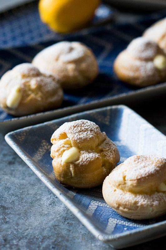 Meyer Lemon Curd Stuffed Cream Puffs Recipe on @whiteonrice