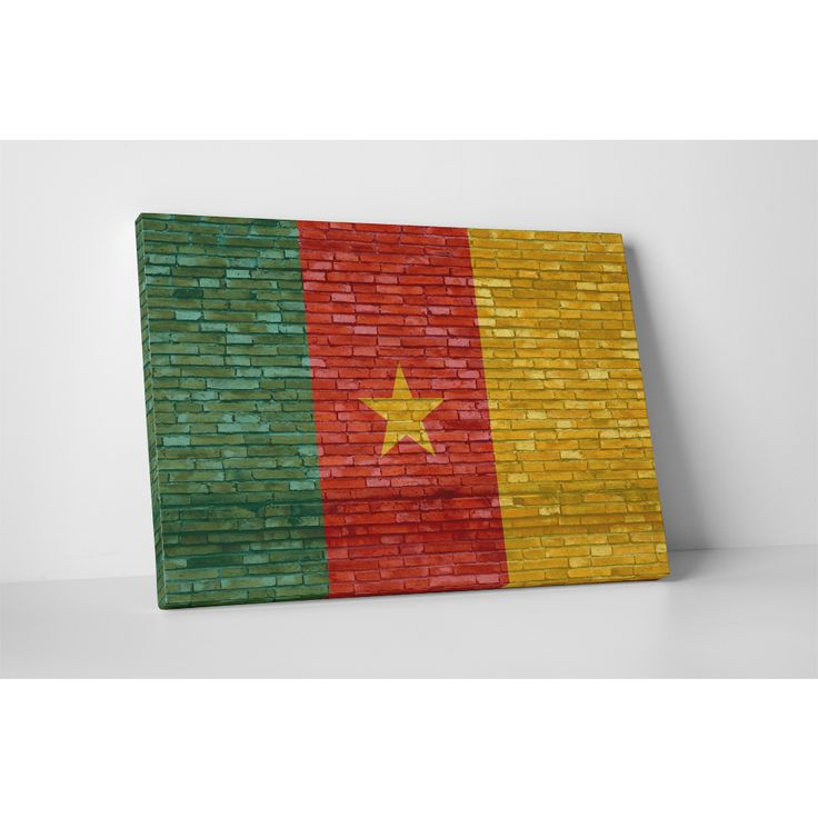 Flags 'Vintage Cameroon Flag' Gallery Wrapped Wall Art