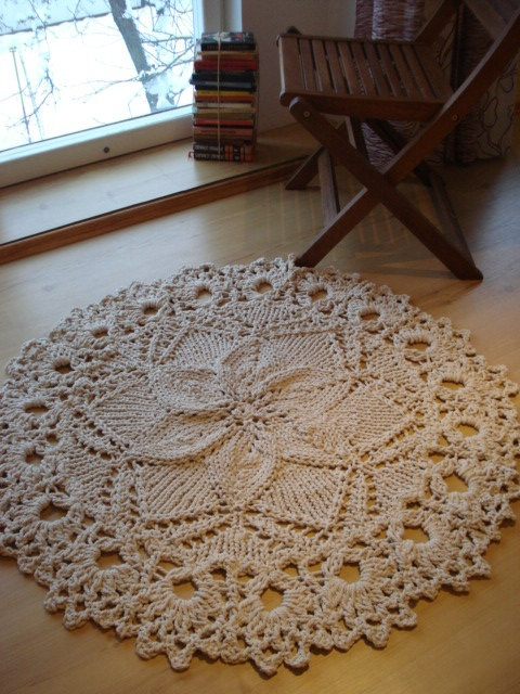 Knitted Rope Giant Doily Rug with crochet edge 100% Cotton | Doily Rug ...