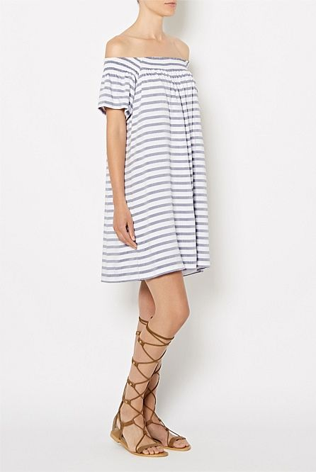 Off-shoulder Stripe Dress #witcherystyle