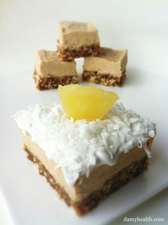 *New Post- Healthy Pina Colada Vegan Cheesecake (5 minute prep, vegan, gluten-free, no-bake, tastes UNREAL) This is my new favourite dessert!!! So proud/excited to share this recipe!!! Enjoy :)   http://www.damyhealth.com/2012/02/pina-colada-vegan-cheesecake/