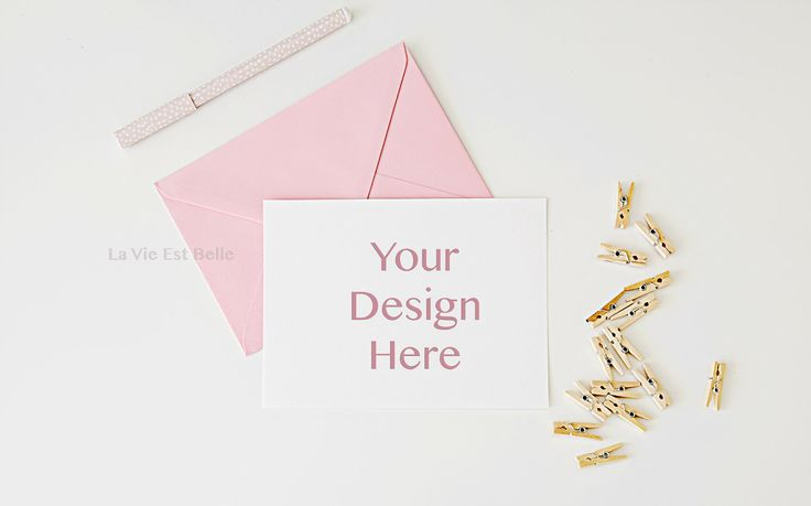 Card Stock Photo - Styled Stock Photography - Pink Envelope and Blank White card for your design, message, invite or artwork - card mockup by LaVieEstBelleStock on Etsy https://www.etsy.com/listing/240601378/card-stock-photo-styled-stock