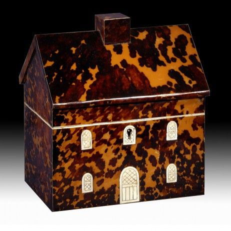 A Regency Tortoiseshell and Ivory Tea Caddy in the Form of a House - Hyde Park Antiques, Ltd.