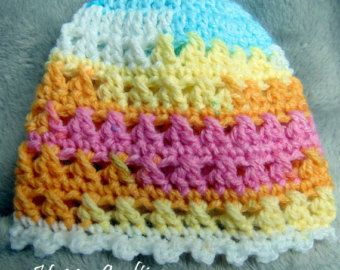 BABY HAT kiss cross stitch multicolour random yarn Newborn 0-3 months Hand Crochet Baby Gift unisex Baby Birth / Christening gift - Edit Listing - Etsy