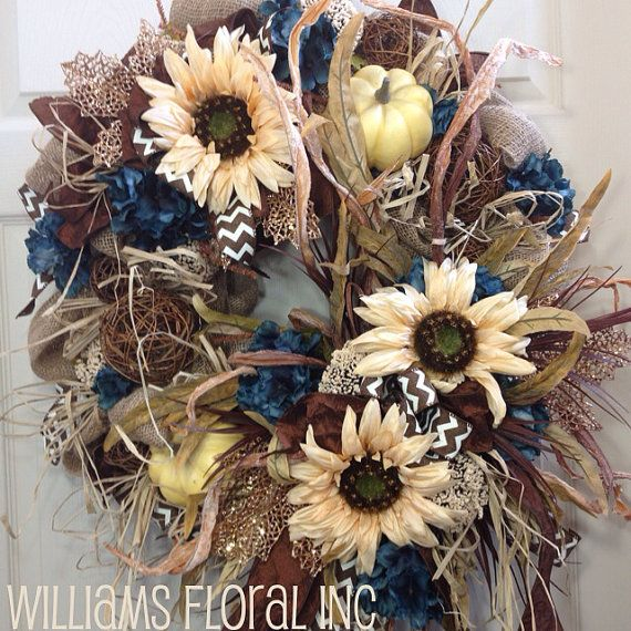 Fall Wreath, Mesh Wreath, Burlap, Turquoise, Autumn, Neutral
