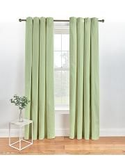 Lined Eyelet Curtains - Green