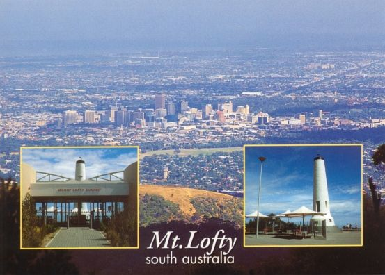 Mount Lofty lookout, the cafe and the view of the city of Adelaide.