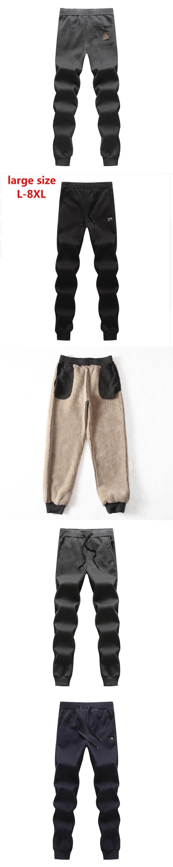 2017new large size 8XL 7XL 6XL Fleece Thick Pants Men Outside Winter Pants Men Fleece Warm Mens Fleece Pants Heavyweight Zipper