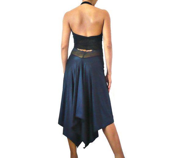 MIDNIGHT BLUE Silk Charmeuse Asymetric Skirt by miradaTenueDeTango