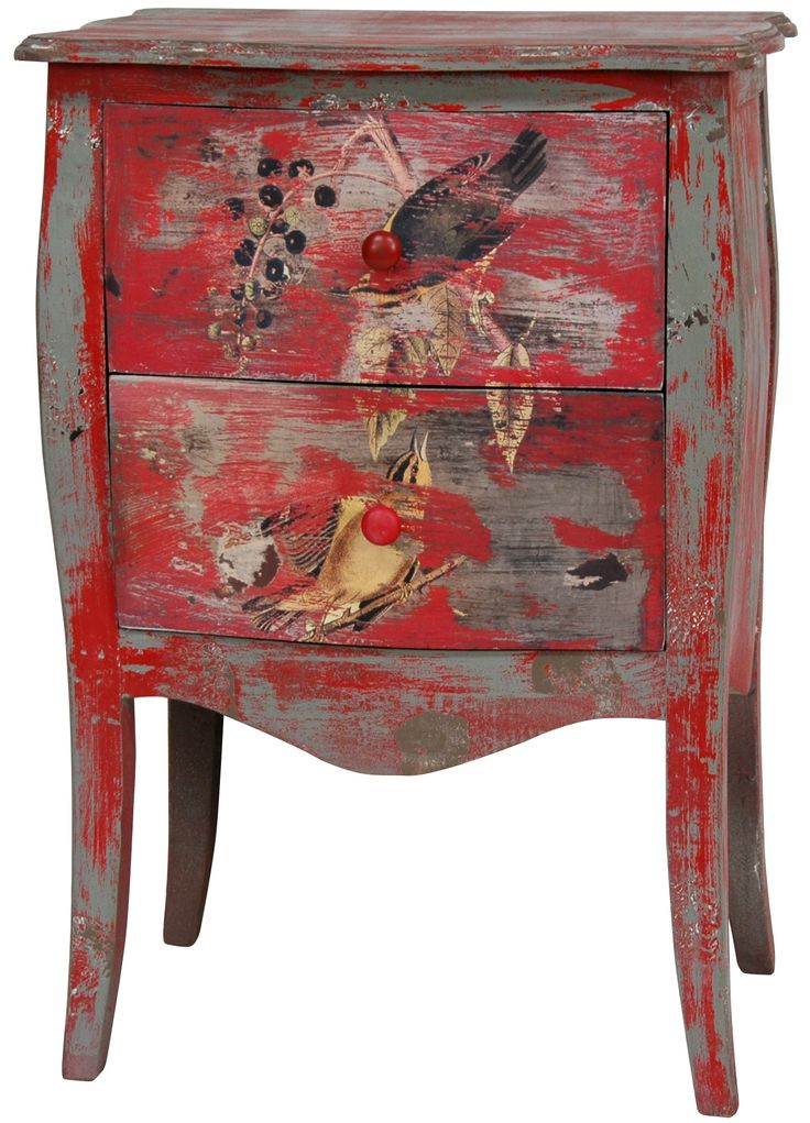 Furniture, : Charming Furniture For Bedroom And Living Room Decoration  Using Rustic Red Drawers Hand Painted End Tables And Red Drawers Night Stand