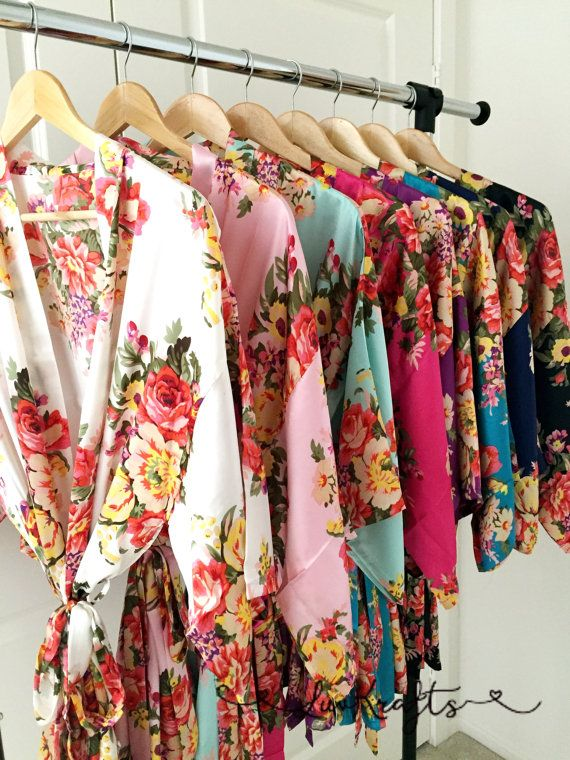 Feminine & pretty with these soft, silky, personalized floral robes.  They…