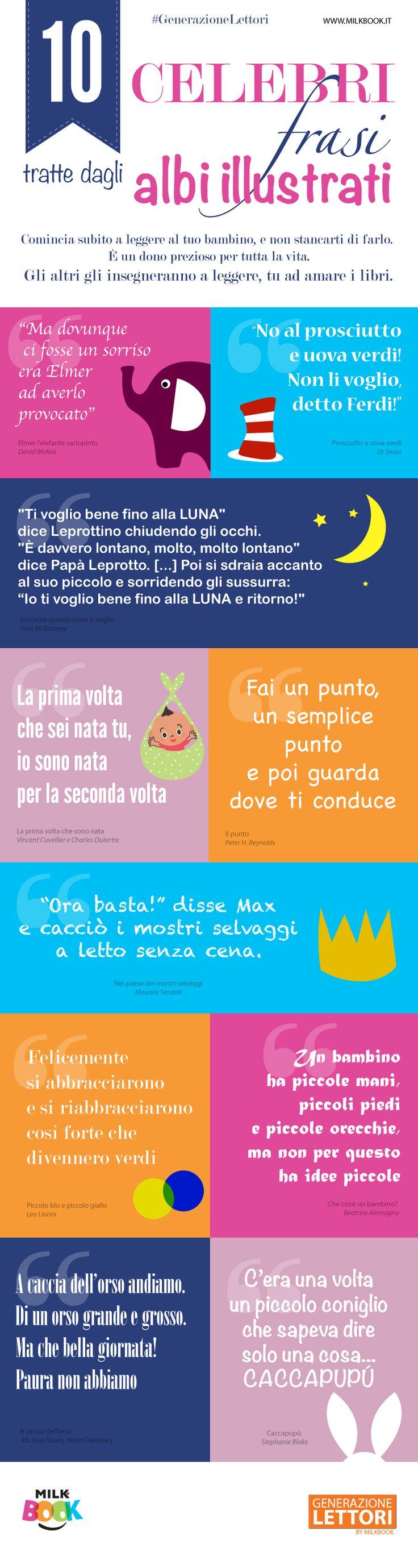 Infografica che raccoglie 10 frasi tratte da libri per bambini molto amati