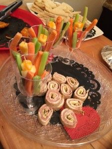 Lingerie shower food.. veggie sticks in a cup... carrots, celery, cucumber, cheese cubes on toothpicks