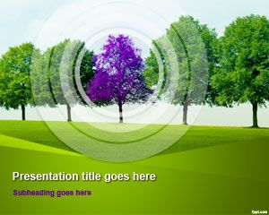 Tree Line PowerPoint Template #spring #green #nature powerpoint presentation theme