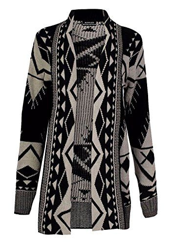 Womens Open Knitted Ribbed Bold Aztec Print Boyfriend Cardigan Ladies Jumper  * Click on the image