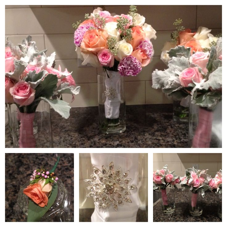 Peach, pink, white and dusty miller Congratulations to Claire and Dave www.cinderellaweddings.ca