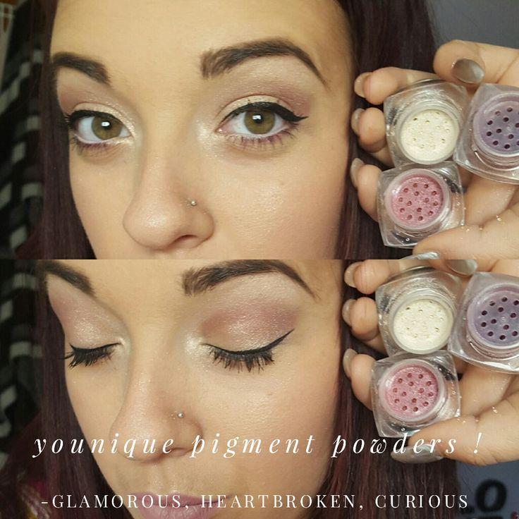 Younique pigment powders! ! Glamorous, heartbroken and curious  #younique #pigmentpowders