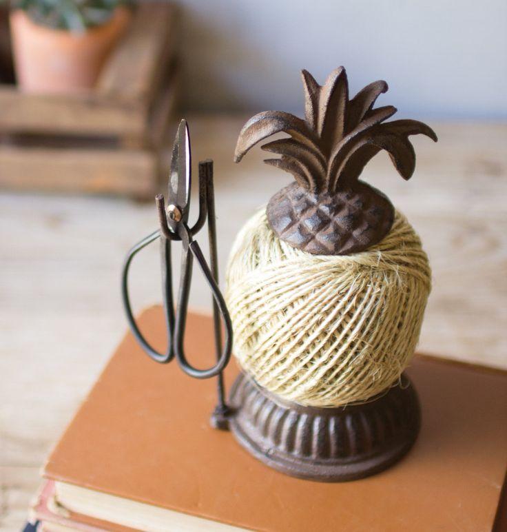Cast Iron Pineapple Jute and Scissor Holder by ArtAngelsMarket on Etsy https://www.etsy.com/listing/514166151/cast-iron-pineapple-jute-and-scissor