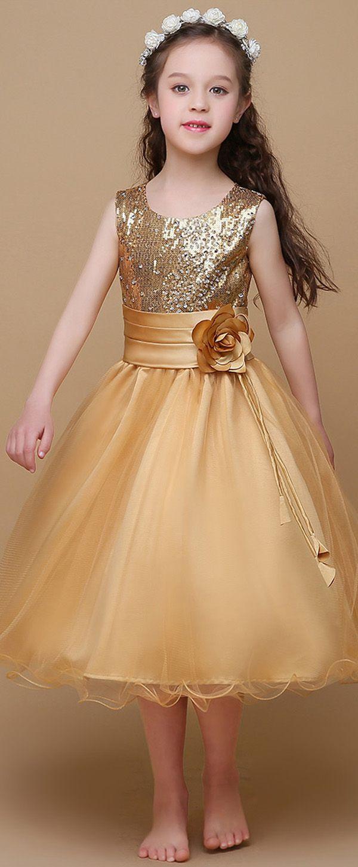 Sparkling Sequin Lace & Tulle Scoop Neckline A-Line Flower Girl Dresses