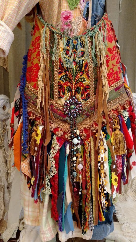 Handmade LARGE Vintage Fabric Fringe Bag Tote Hippie Festival Boho Purse tmyers #HandmadebyTraciMyersMe #CrossbodyCrossbodybagTote