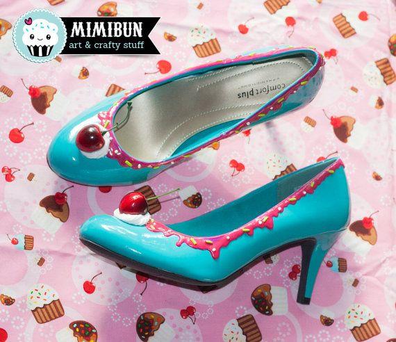Ice Cream Heels Shoe Bakery Ice Cream Shoes Size 9 1/2 by mimibun
