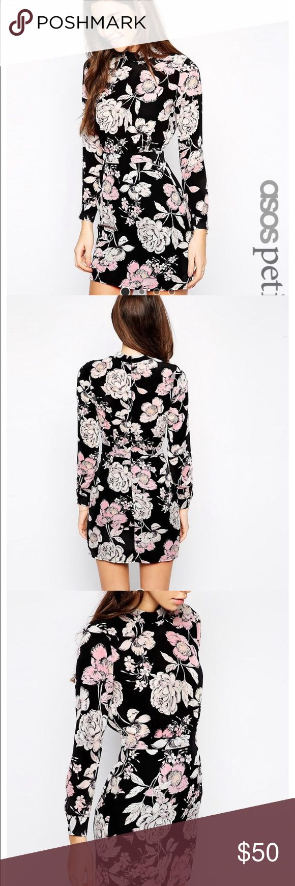 Petite Mini Dress with High Neck in Floral Brand New! Never worn, in great condition. ASOS Petite Dresses Mini
