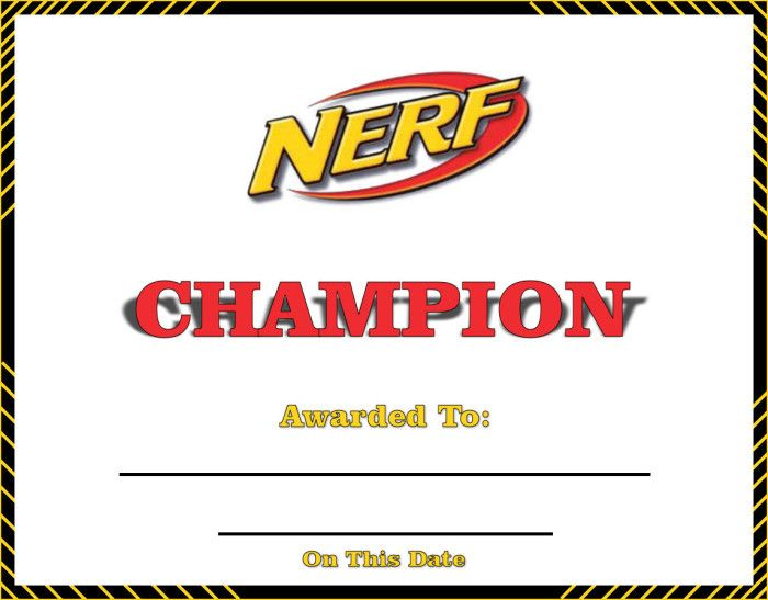 Nerf Rebelle Training Day Champion Certificate Printable