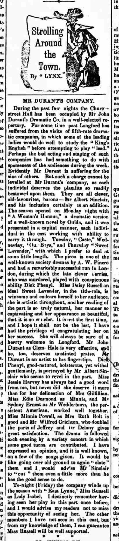 From The Longford Journal July 27th 1901- review of Wilfred and Jessie's performance in John Durant's production.