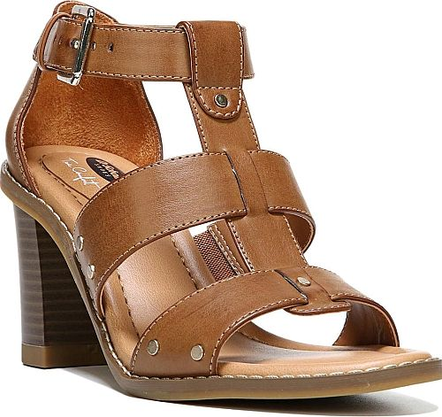 "Dr. Scholl's Women's Shoes in Caramel Color. Get the good looks of this strappy sandal that doesn't sacrifice comfort. Burnished smooth upper with adjustable metal buckle closure and stud detail. True Comfort memory foam insole. 3"" heel height"