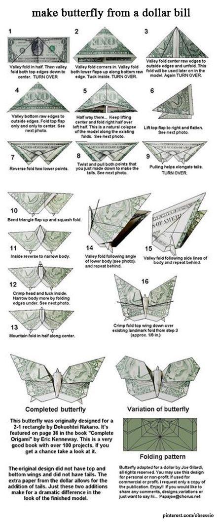 Make Butterfly From a Dollar Bill – #bill #Butterf…