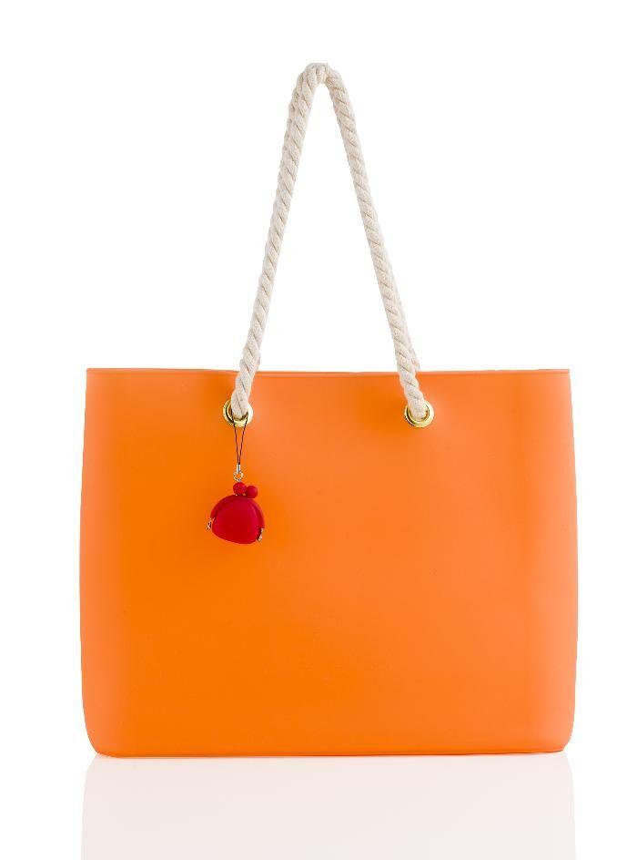 Brandani - Easy Bag fashion arancio silicone con manici in corda