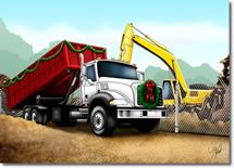 SW-00077 Industry Specific Christmas Card for the roll off and trash company industry.Truck Transportation , Refuse Trash Garbage, Recycling, Waste Management, Trash Service, Trash Pickup, Garbage Pickup, Demolition Contactor Christmas Card, Rolloff Holiday Card, Roll off Truck Christmas Card, Rolloff Container Holiday Card.